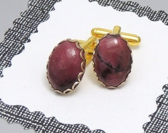 Rhodonite Cuff Links Gold Oval Upcycled Vintage
