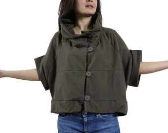 Patched Dark Brown Brushed Cotton Mix Polyester Stand Collar Drop Shoulder Cape Poncho Cloak Batwing Vest Jacket Blouse