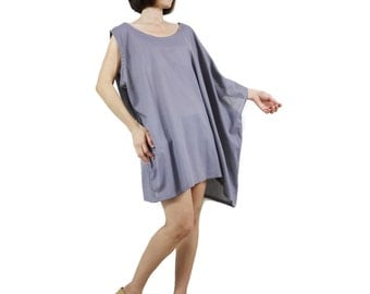 Sleeveless With One-Side Poncho Styling Wide Scoop Neck Asymmetrical Hem Azo Free Color Lilac Grey Light Cotton Blouse Tunic Top