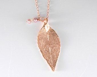 "RESERVED - Rose Gold Real Laurel Leaf Necklace on 30"" chain"