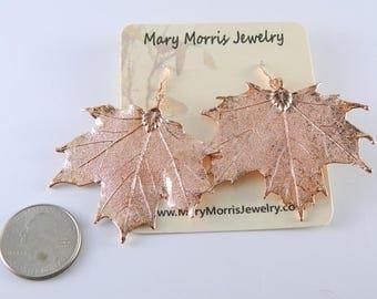 Rose Gold Maple Leaf Earrings, Rosegold Earrings, Real Maple Leaf