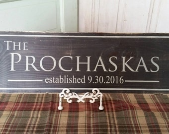 Personalized Family Name Sign. Last Name Wood Sign with Established Date. Great Wedding Gifts, Bridal Shower or Anniversary Gifts