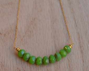 Black Friday -Apple Green and Gold Bar Necklace