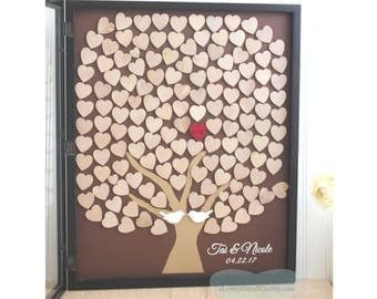 Wedding guest book Tree Guestbook wooden Alternative  guest Book wood rustic Unique Heart Guestbook 16 x 20
