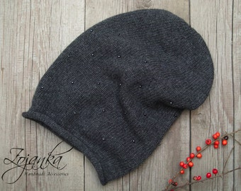 WINTER beanie, slouchy hat, winter slouchy beanie, fall beanie, grey knit hat, autumn accessories