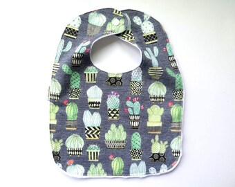 Minky Fabric Bib - Baby Bib - Teething Bib - Cactus Print - Cactus Flowers - Southwest Desert - Baby Girl Gift