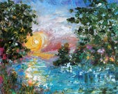Morning Early Light painting in oil landscape palette knife impressionism on canvas 16x20 fine art by Karen Tarlton
