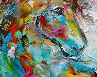 Horse Portrait abstract original oil painting palette knife impressionism on canvas fine art by Karen Tarlton