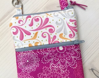 Phone Case  Fuschia Hot Pink Grey and Orange Swirls Floral with Wristlet  iPhone 5 6 Plus Note Samsung Optional Shoulder Strap