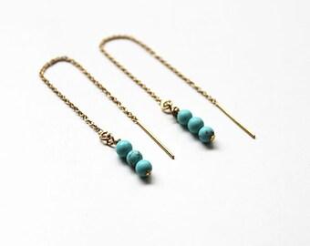 Turquoise Gold Threader Earring