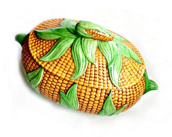 Vintage Corn Dish, Ceramic Covered Corn Dish, Covered Corn Bowl, Handmade Vintage Ceramic Corn Casserole Dish, Lidded Corn Dish, Corn Server