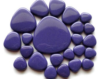 Dark Violet Purple Turkish Glass Pebble Mosaic Tiles//Oval Shaped Tiles//Mosaic Supplies//Crafts//Mosaic