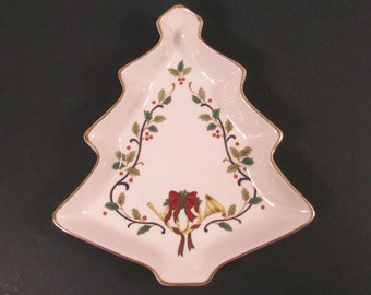 """Vintage Christmas Tree Candy Serving Dish - Mikasa Fine Porcelain - """"Holiday Elements"""" - Like New Condition -"""