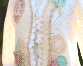 upcycled prairie cardigan embroidered peasant crocheted cardigan country shabby chic vintage lace sweater