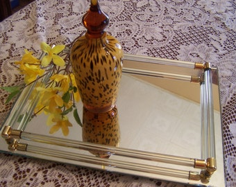 Vintage Perfume Mirror with Glass Bars & Gold Accents, Modernist, Vanity Top Mirror, Make Up Mirror, 1980s
