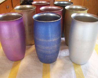 8 Vintage AluminumTumblers/Glasses, Anodized Metal, MCM, by Mirro, 1950s-60s, Glamping, Picnics, Mid Century Drinkware