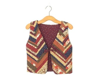 SALE Vintage Quilted Vest * Cropped Folk Vest * Patchwork Bolero Waistcoat * Medium - Large