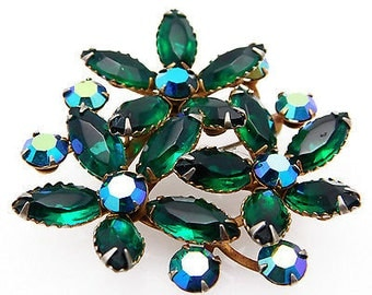 Unsigned Judy Lee Vintage Brooch Dark Green Floral & AB Rhinestone Pin
