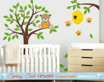 Tree Wall Decal  Honey Bear and Bees Wall Decal Bear Wall Decal Nursery Kids Wall Decal Bees Wall Decal Bee Hive Bees Wall Decor Sticker