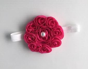 Hot pink rosette headband