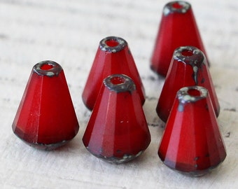 8x6mm Glass Drop Beads  - Long Drill Faceted Tear Drop - Jewelry Making Supplies - 6x8mm Drop - Opaque Red - 10 Beads