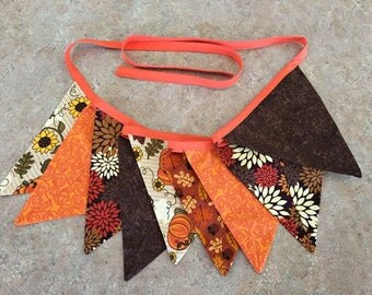 Fall Autumn Fabric Bunting Banner / Thanksgiving / Pennant Banner / 9' long / Reuseable / READY TO SHIP