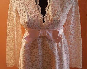 Fabulous Vintage Pink Lace Babydoll Dress by Jose Magnin