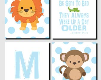 Jungle Animals Nursery Wall Art, Lion, Monkey, Boy Nursery, Little Boys Should Never Be Sent To Bed, Safari Animals, Set of 4, Prints,Canvas
