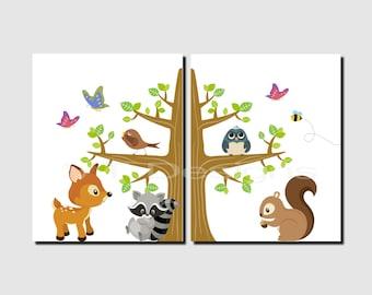 Woodland Nursery Decor, Woodland Animals, Raccoon, Deer, Owl, Squirrel, Boy, Girl Nursery, Toddlers Room Decor, Set of 2, Prints or Canvas