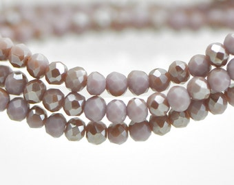 Faceted Glass Rondelle 3x4mm, Chinese Crystal Beads, Opaque Lavender Purple Grey (#BZ04-152)/ 145 beads full strand
