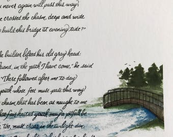 The Bridge Builder/Calligraphy Art/Print of Original/8.5x11 for 8x10 Mat or Frame/Paper only/Card Stock