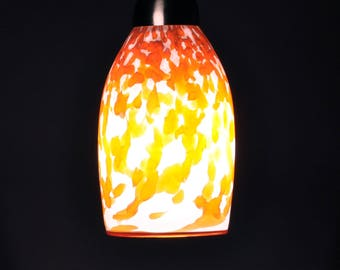 Large  Handblown Pendnant Light in Transparent Orange / Red on Opaque White