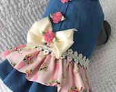 Shabby Chic Denim   Spring Dog Dress  Dog or Cat  Harness Custom Made
