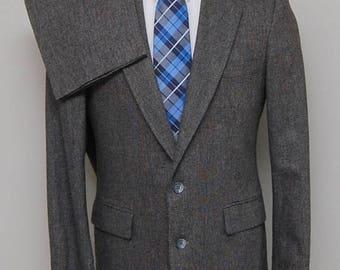 SALE Vintage men's brown grey wool tweed 2 piece suit/ Vint men's tweed suit/ Haggar