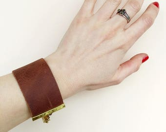 Wide Leather Cuff Bracelet, Brown Leather Bracelet, Minimalist Cuff Bracelet, Unisex Leather Jewelry