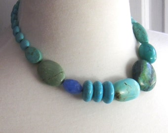 Turquoise Statement Necklace Bold Beaded Necklace Blue Quartz Chrysocolla Multi Gemstone Necklace Chunky Blue Green Rustic