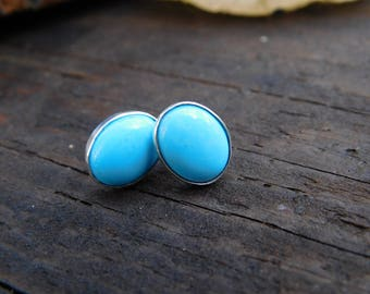 Sleeping Beauty Turquoise and Silver Stud Earring