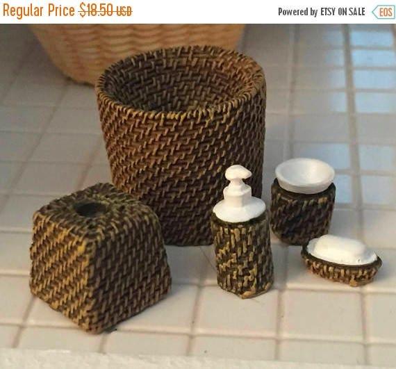 SALE Miniature Wicker Look Bath Set, Lotion, Waste Basket, Soap, Tissue Holder, Cup, Dollhouse Miniatures, 1:12 Scale, Bathroom Decor