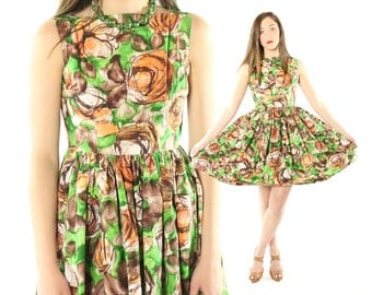 Vintage 60s Dress Full Skirt Floral Abstract Sleeveless Mini 1960s Small S Green Brown Orange Pinup Rockabilly Party Sundress