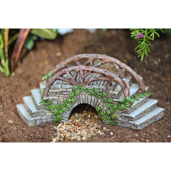 "Curved Enchanted Bridge with Steps adorned with Ivy  2.5"" Tall x 6.5"" Wide x 2.25""D for the Fairy Garden"