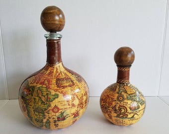 Vintage Pair of Leather Old World Map Decanters Caraffes Spirit Containers