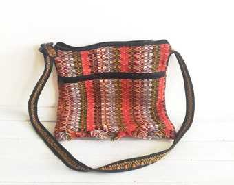 Vintage woven bag, guatamalan, bright jewel tones, crossbody purse, shoulder sling, ipad case, laptop bag, embroidery, embroidered