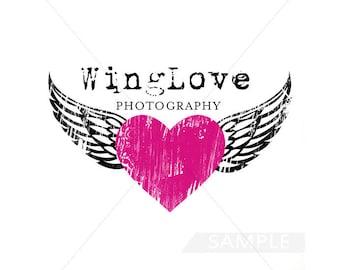 Heart Logo, Wings Logo, Photography Logo, Logo Design, Premade Logo, Business Logo, Logo, Boutique Logo, Heart Logo Design, Watercolor, .