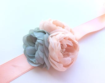 Romantic  Bridal Satin and Chiffon  Belt Flower Sash for Wedding