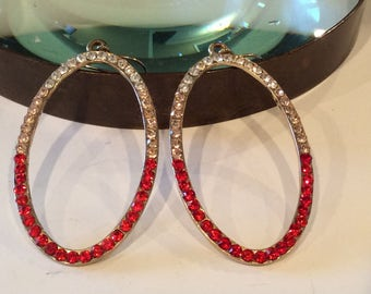 Red, Pale Pink, and Clear Rhinestone oval Hoop earrings, pierced earrings