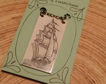 Scrimshaw Necklace Intricate Tall Ship Design OOAK Great Gift Idea