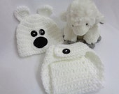 RESERVED White Polar Bear Diaper Cover, Polar Bear Matching Set, 0 to 3 Month White Diaper Cover