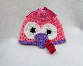 Pink Turkey Baby Cap, Pink and Purple Beanie with Turkey Face, MADE TO ORDER, Fall Hat for Babies, New Baby Girl Thanksgiving Cap