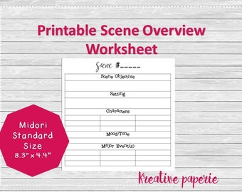 Scene Outline Worksheet Printable Traveler's Notebook Pages, Midori Inserts, Bullet Journal Standard Size