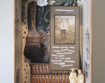 Mixed media assemblage, 3D art, shadow box, found objects